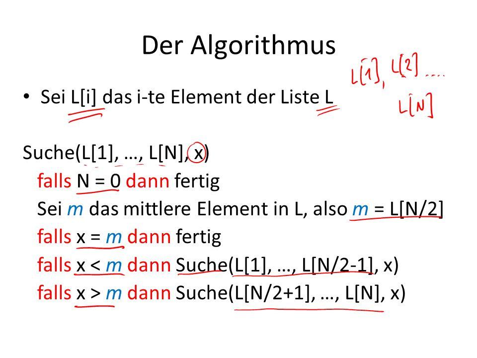 Der Algorithmus Sei L[i] das i-te Element der Liste L